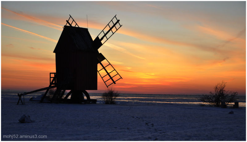 Windmill, sunset, väderkvarn, Öland
