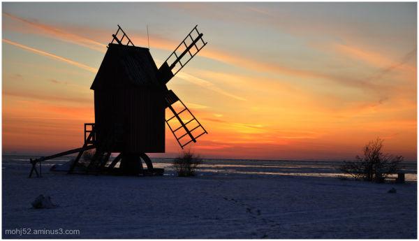 Windmill, sunset, väderkvarn, Öland