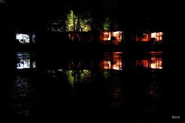reflet, nuit, center parc