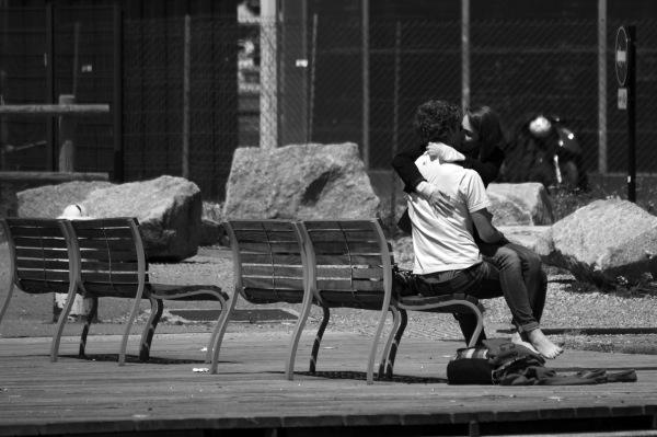 street, love, kiss