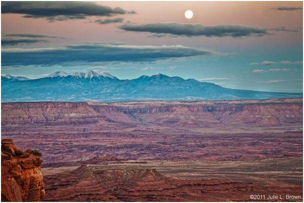 moon over LaSal Mountains grandview point
