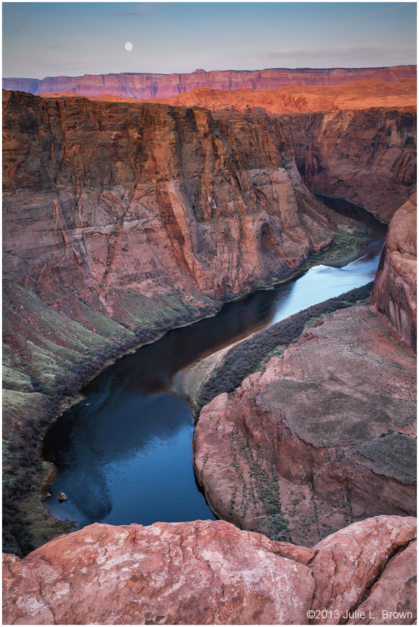 sunrise and full mo at horseshoe bend page arizona