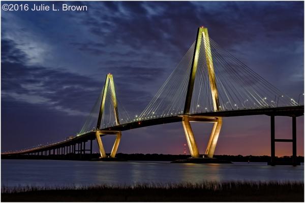 Arthur Ravenel Jr. Bridge after sunset with clouds