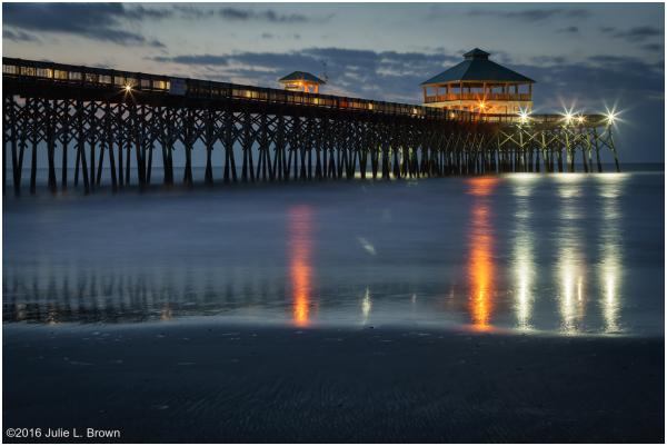 Pier at Folly Beach before sunrise