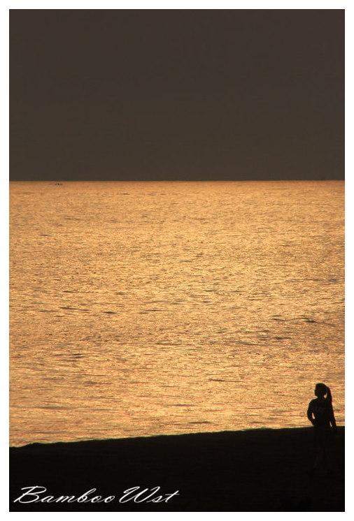 Female silhouette walking the beach