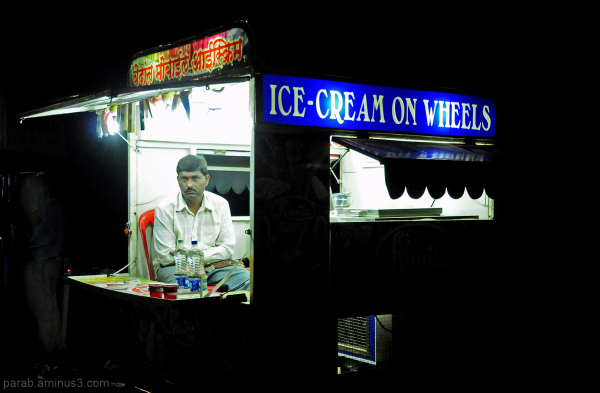 ice cream on wheels.