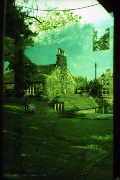 reflection in bus shelter, Heptonstall