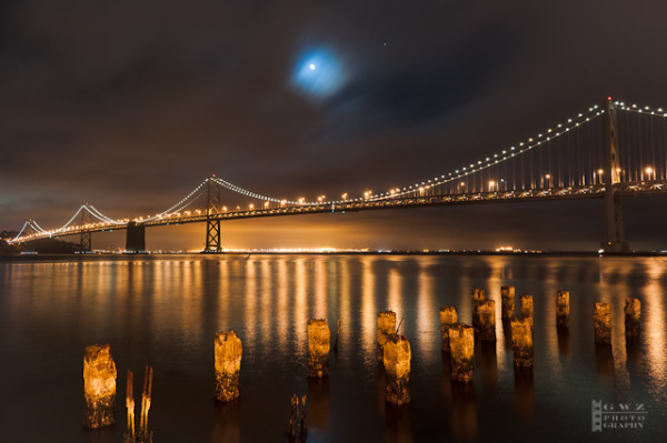 San Francisco/Oakland Bay Bridge at Night