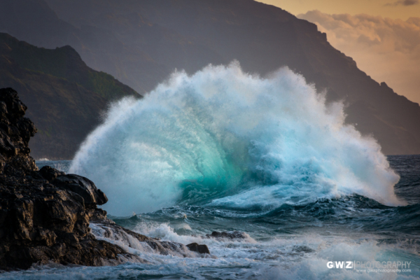 Pounding surf near Ke'e Beach, Kaua'i, Hawai'i