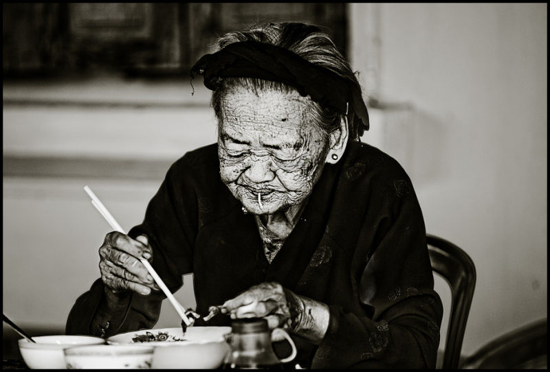 portrait of an old vietnamese woman