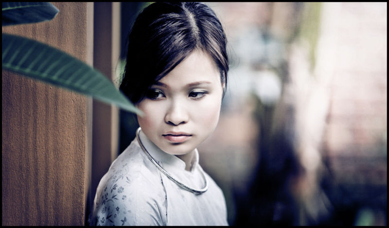 portrait of a vietnamese girl in ao dai