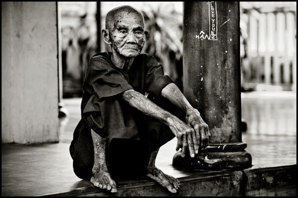 portrait of an old vietnamese woman