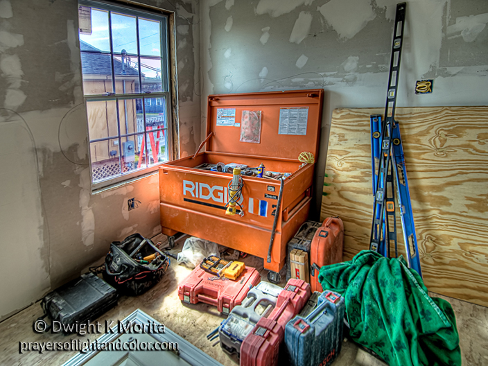 Construction tools and equipment at a job site