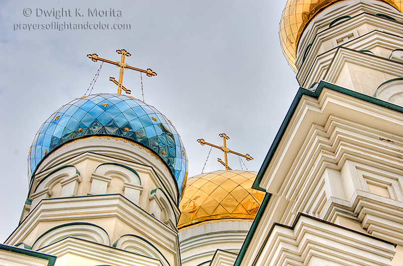 Domes cross of Russian Orthodox church Vladivostok