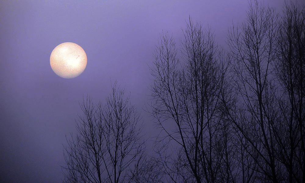 Soleil levant dans la brume