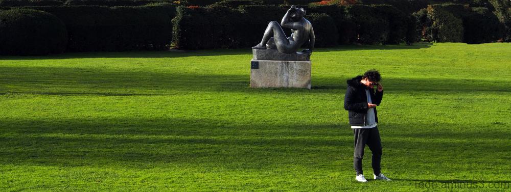 Statue et promeneur