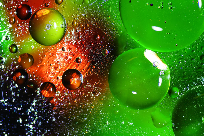 Colorful Bubbles of Oil in Water