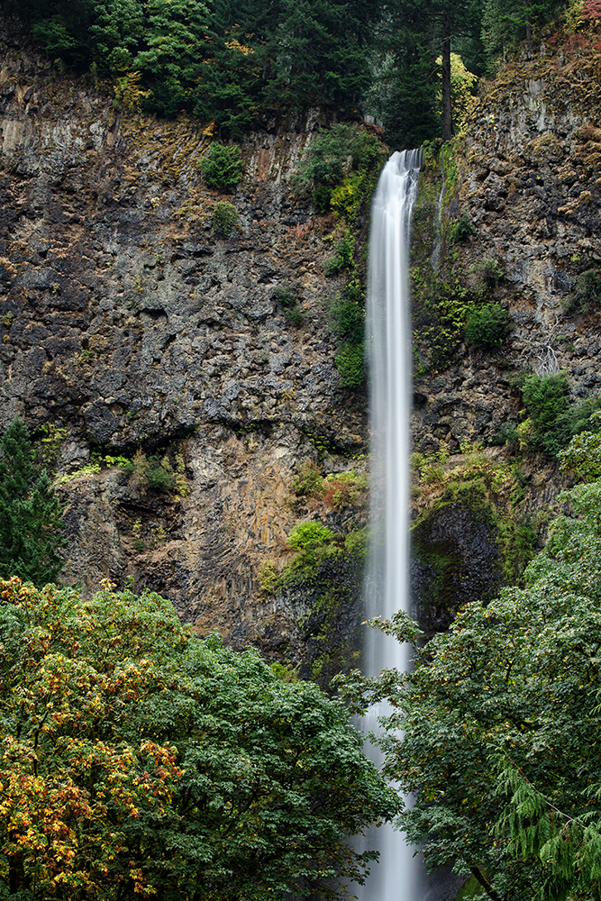 Multnomah Falls in Autumn in Columbia River Gorge