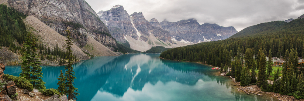 Moraine Lake in the Rain, Banff, Alberta, Canada