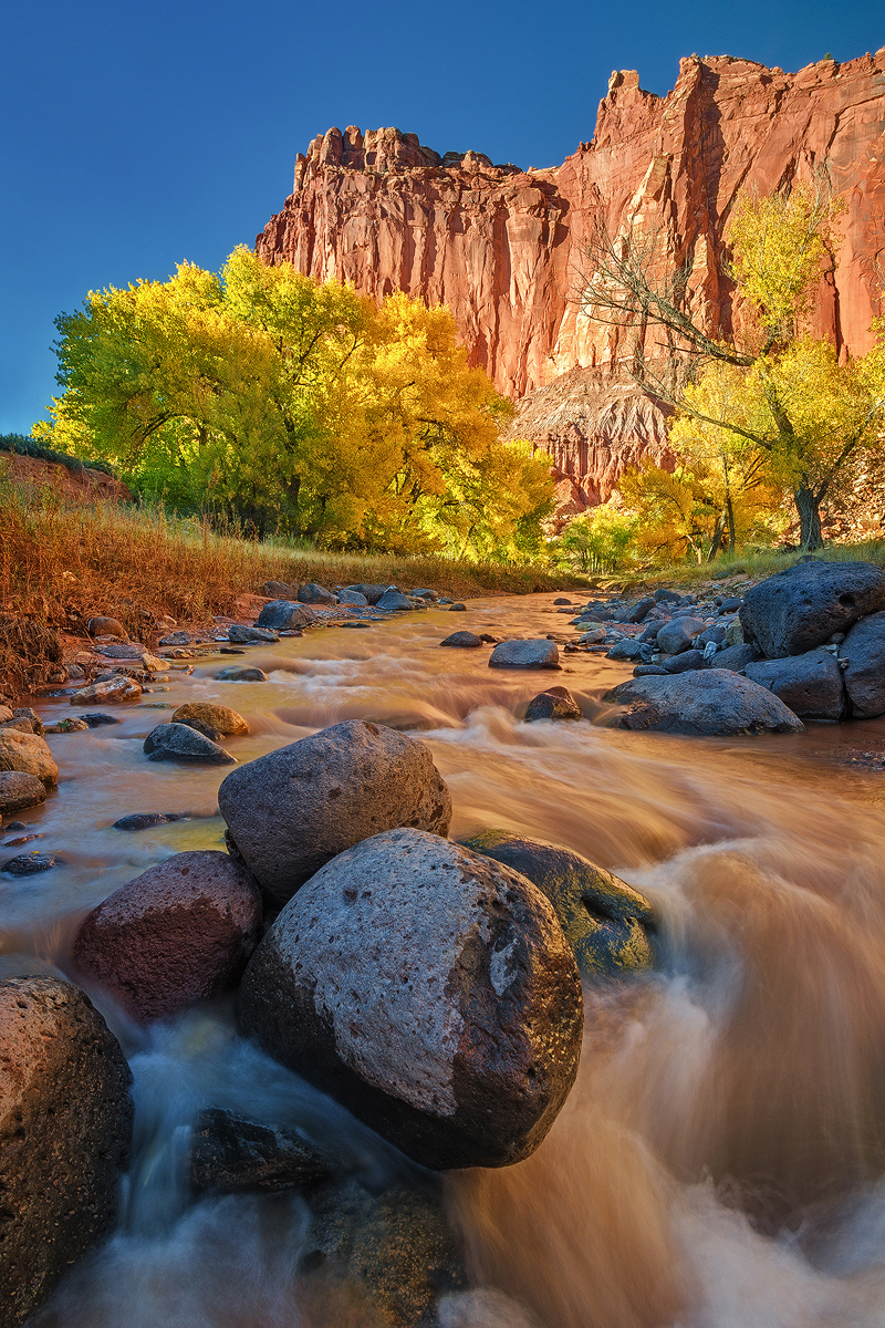 Autumn golden hour at red rock river-Capitol Reef
