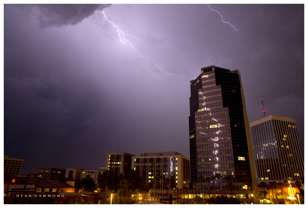 tucson, storm, lightning, building, reflection