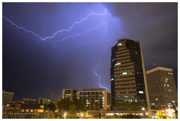Lightning storm over downtown Tucson