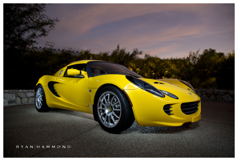 Lotus Elise, car photography, sunset, evening