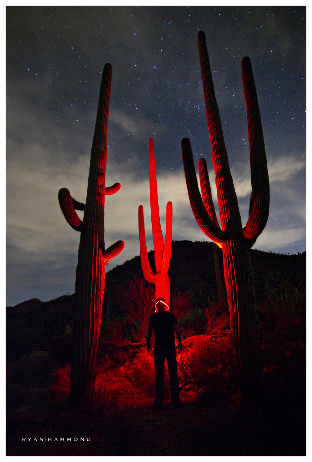 saguaros intense red alien night sky photographer