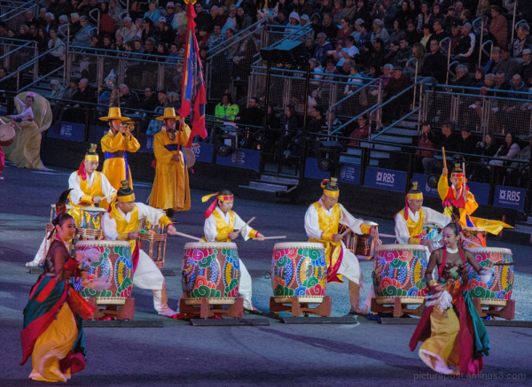 The Korean Army band and dancers