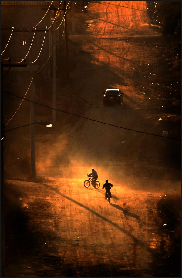 Cyclists in the dirt