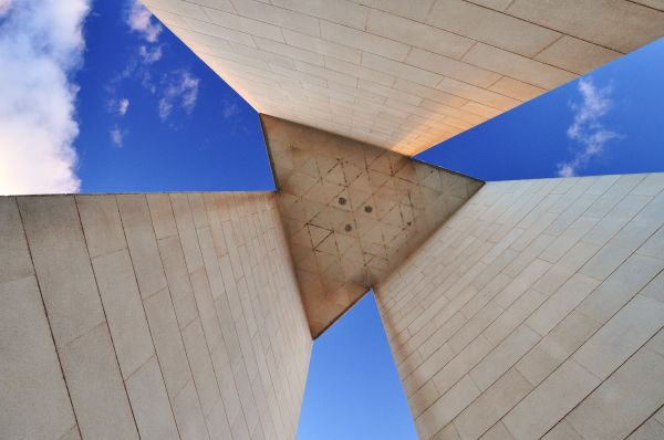 View skywards under Canberra's National Carillon