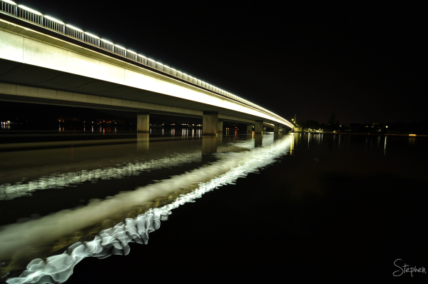 Night view of the Commonwealth Avenue Bridge