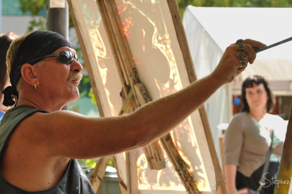 Artist Michael Fitch at work