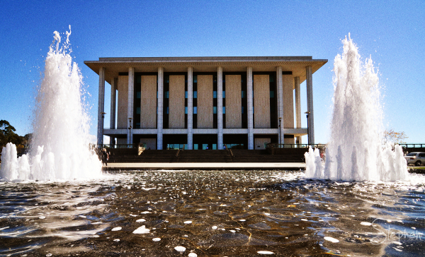 The National Library of Australia with fountains
