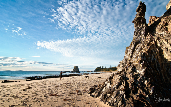 A fisherman at the Glasshouse Rocks near Narooma