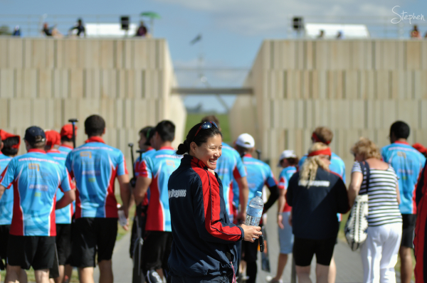Dragon boat racing on Lake Burley Griffin