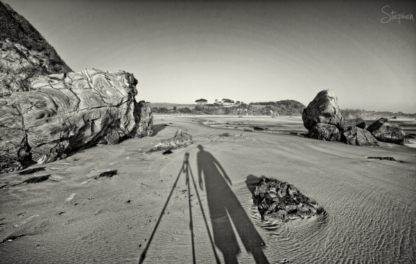 Long early morning shadows at Glasshouse Rocks