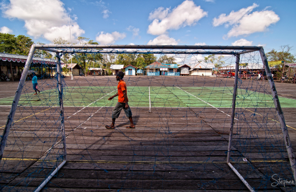 Sports field on the boardwalk in Agats in Asmat