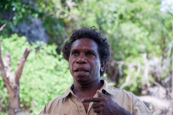 Aboriginal guide on East Alligator River boat ride