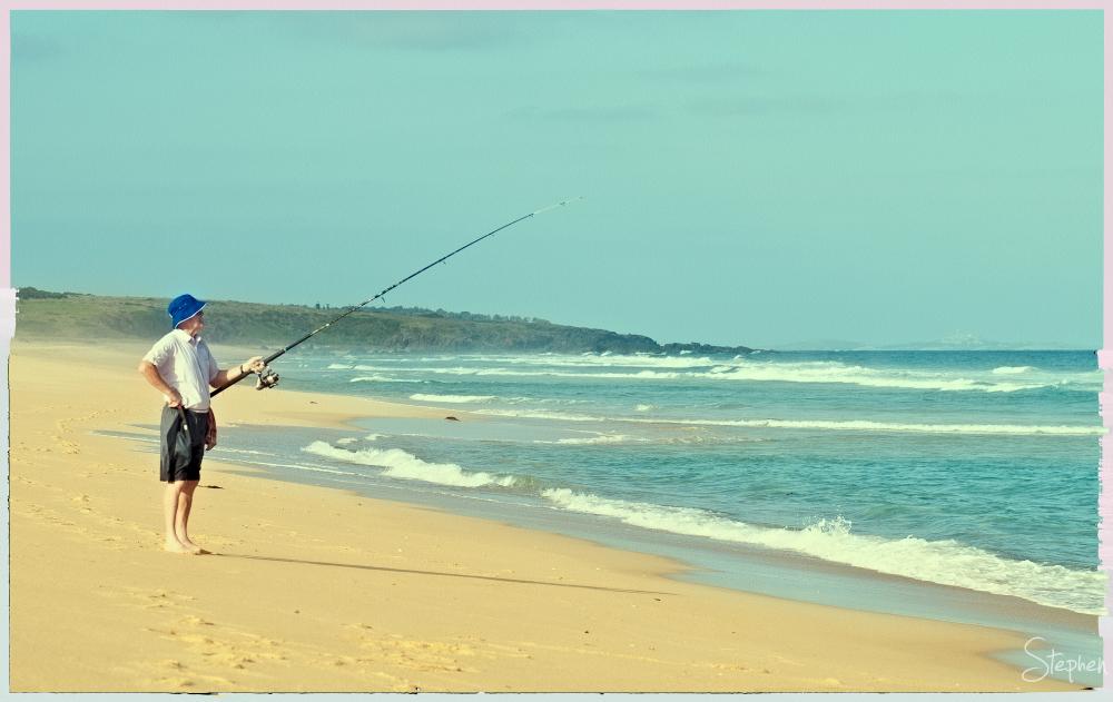Beach fishing at Little Lake near Tilba