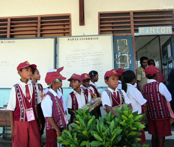 School children in village on Yamdena Island