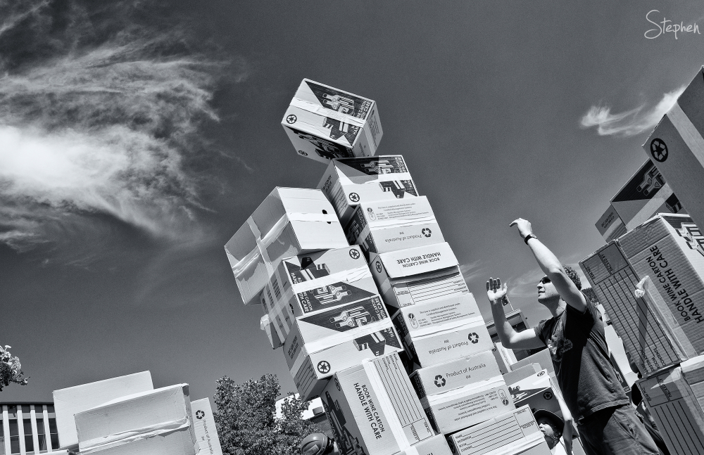 We Build This City - with boxes in Civic Square