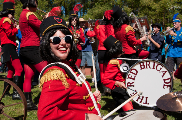 Red Brigade women's brass band in Glebe Park
