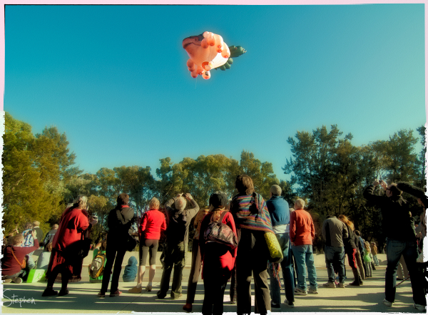 Skywhale balloon sculpture in flight