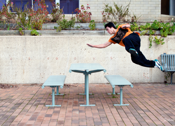 Parkour training with Koh at Belconnen Library
