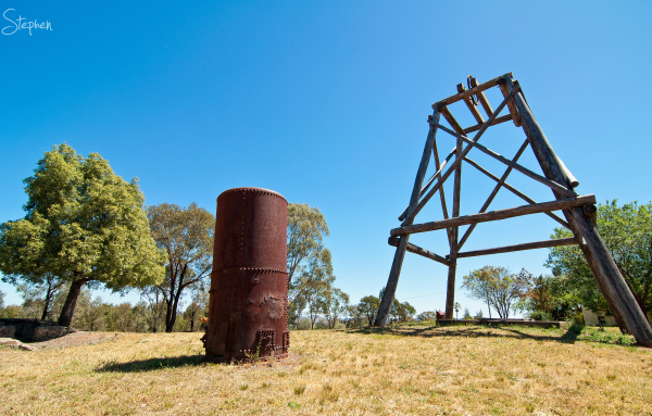 Old gold mining machinery at Gulgong