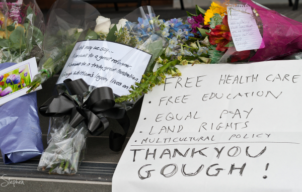 Flower tributes to Gough Whitlam
