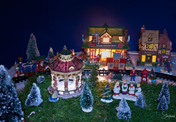 Miniature Christmas Village with train