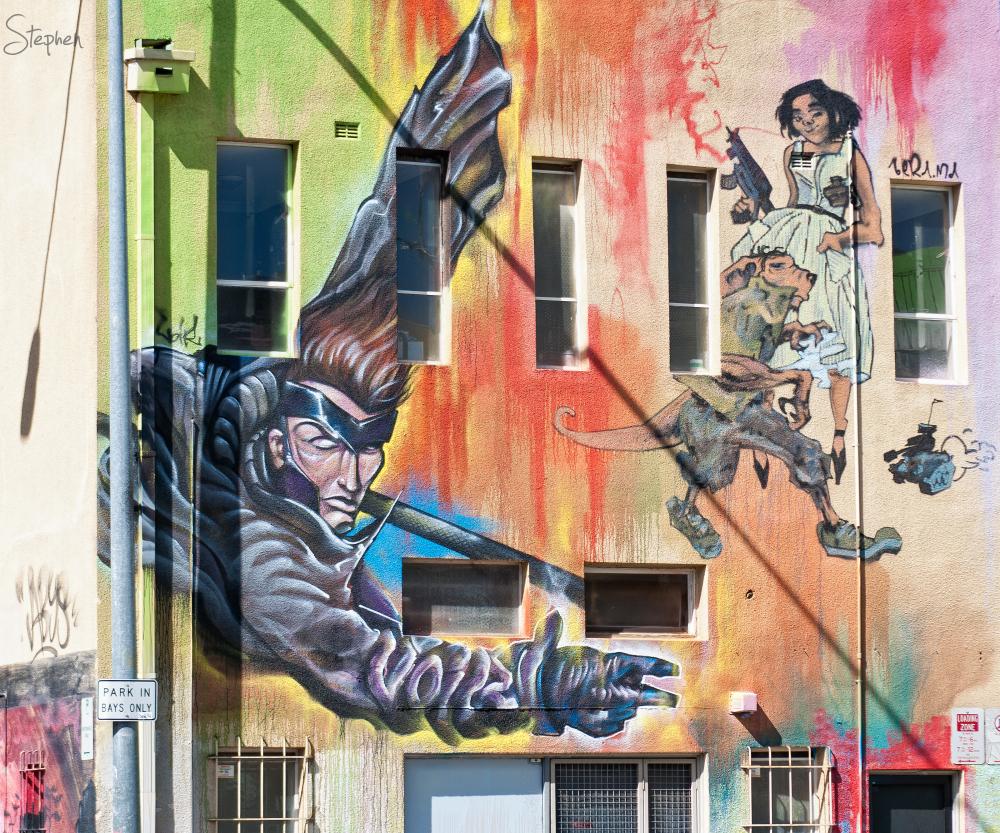 Superhero mural in Tocumwal Lane