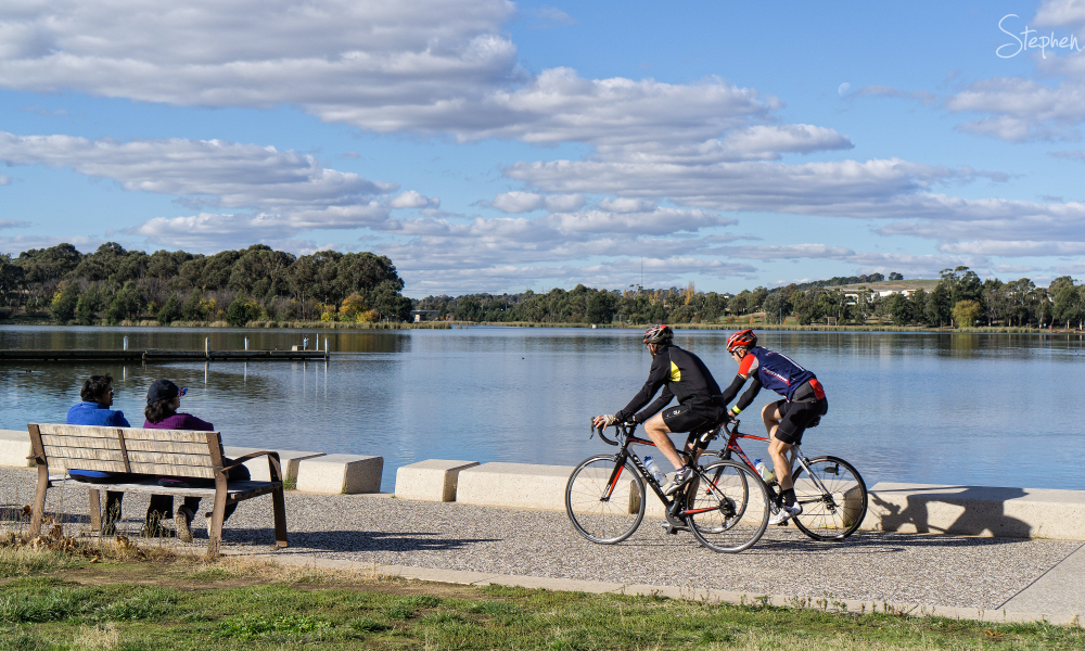 Cycling around Lake Ginninderra
